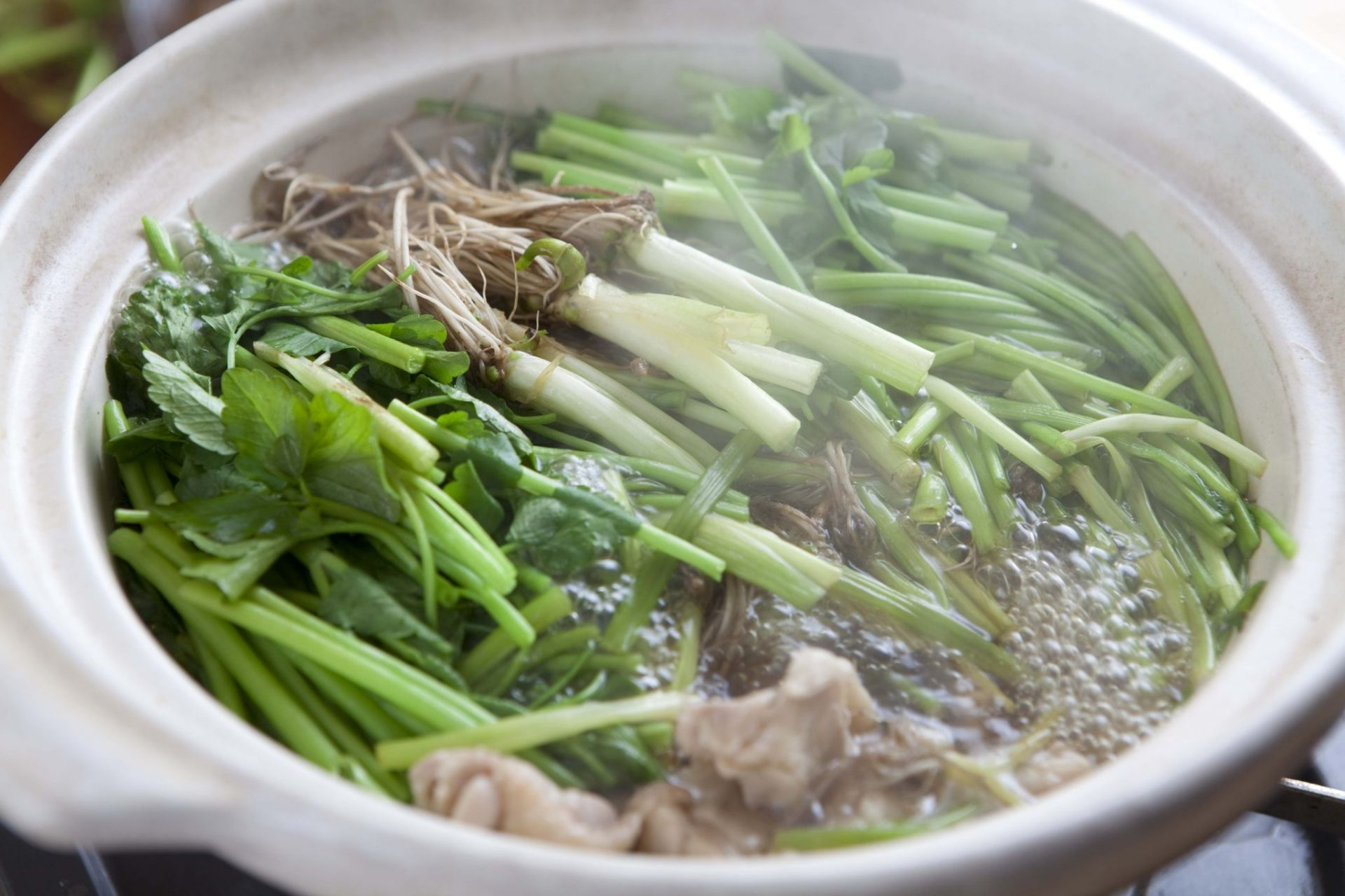 Seri nabe - a Japanese style hotpot stew cooked with parsley